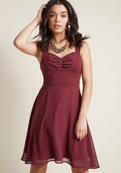 MCD1436 dress cocktail dress straps chiffon sheer classic number burgundy red