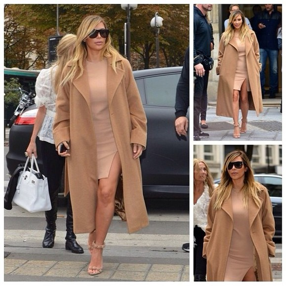 kim kardashian dress winter coat slit dress sunglasses
