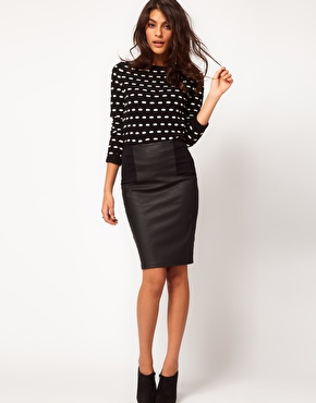 ASOS | ASOS Pencil Skirt in Leather Look at ASOS