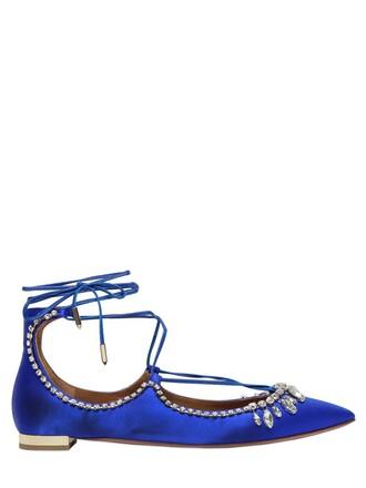 flats silk satin blue royal blue shoes