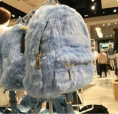 bag,fuzzy coat,blue,blue backpack,light blue,faux fur