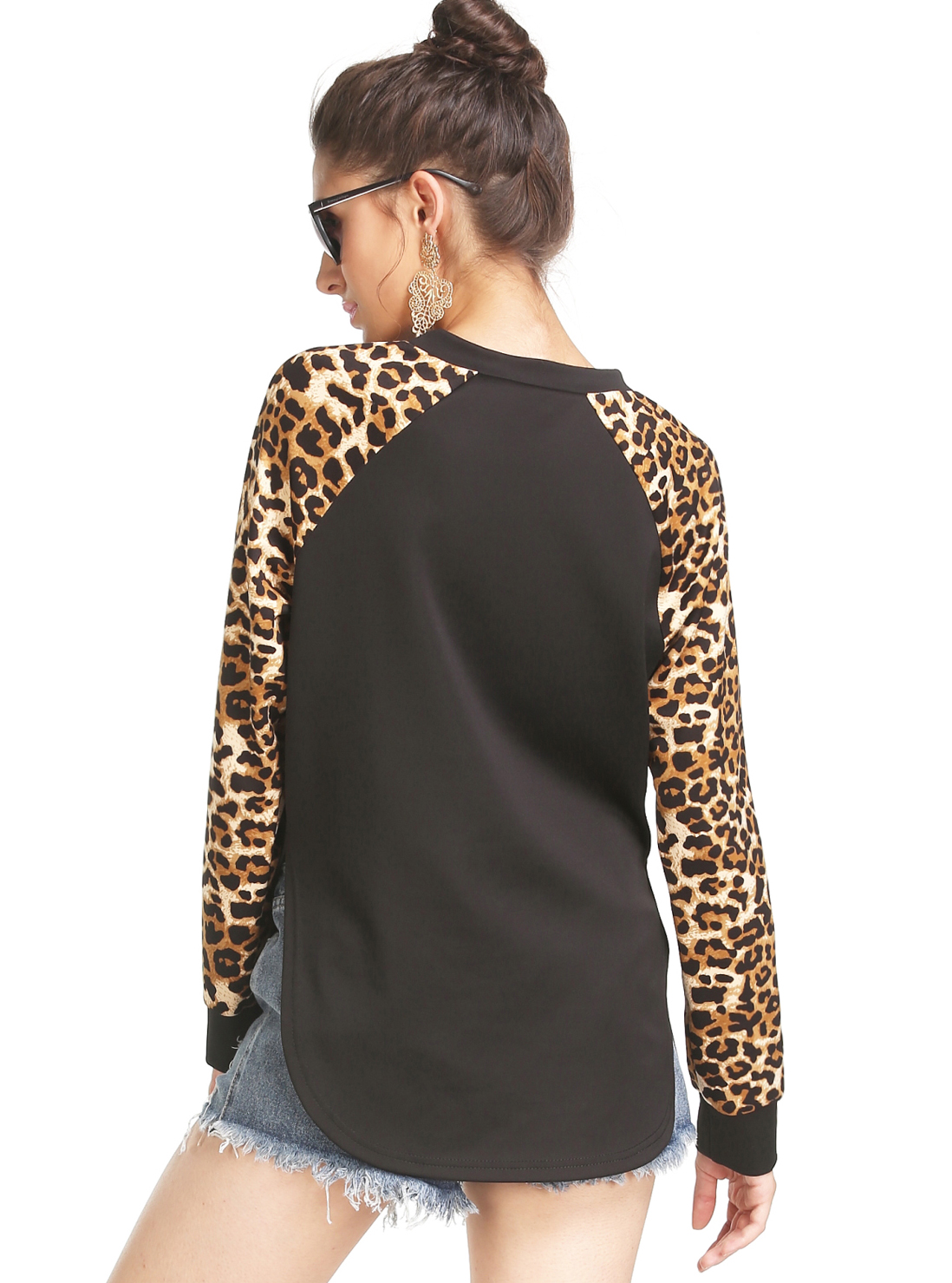 Black Leopard Print Sleeve Sweatshirt - Sheinside.com