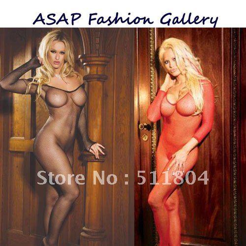 Ladies sexy teddies, sheer fishnet body stocking, long sleeve transparent black / red mesh bodysuit lingerie retail