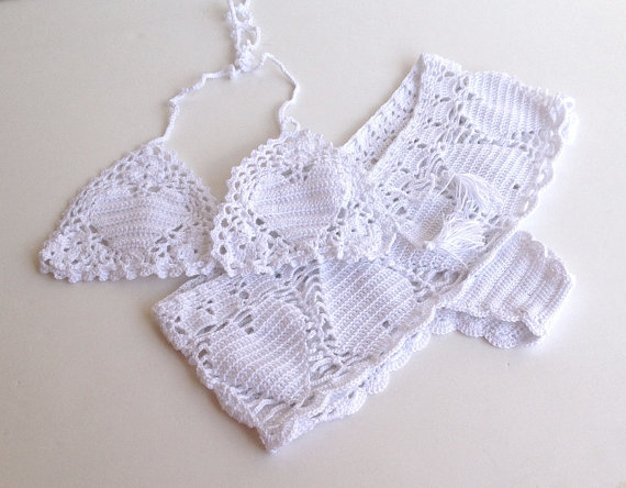 white crochet shorts heart lace crochet bikini by senoAccessory