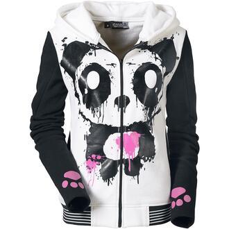 sweater panda killer panda hoodie hood mase mase hood pink black white emo scene goth alternative rock punk manga vest