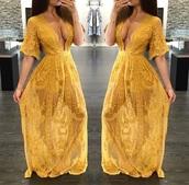 dress,yellow,lace,maxi dress,romper,romper dress,dress with shorts,maxi romper,romper maxi,custard,yellow dress,gold dress,skorts