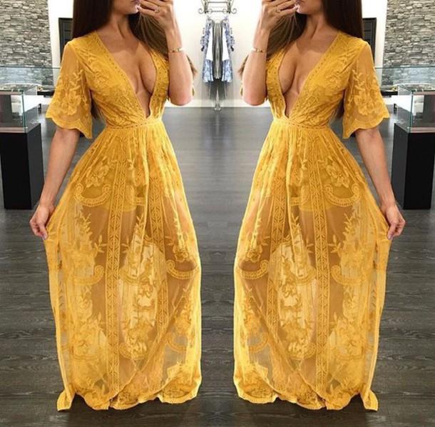 a906ed19426b dress yellow lace maxi dress romper romper dress dress with shorts maxi  romper romper maxi custard