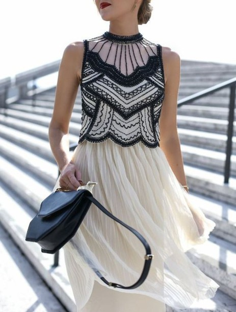 e88d1f122385 dress tumblr black and white black and white dress midi dress fit and flare  dress bag
