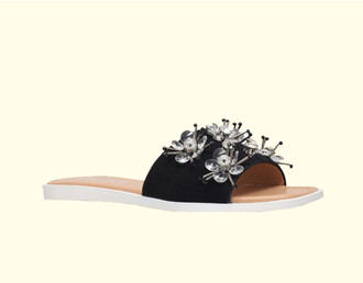 shoes slide shoes black slides black leather slides embroidered embellished embellished shoes