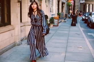 natalie off duty blogger blouse pants bag