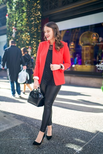 covering bases curvy blogger jacket top leggings shoes bag jewels make-up red jacket blazer handbag leather leggings pumps