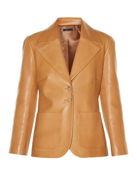 THE ROW Calixco notch-lapel leather jacket in tan