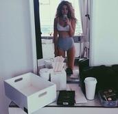 underwear,swimwear,high waisted bikini,gigi hadid,high waisted,monochrome,shorts,bedroom