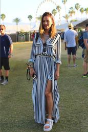 shoes,necklace,sandals,maxi dress,stripes,jamie chung,coachella,festival,jewels,dress,summer,shirt dress,striped dress