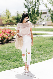 top,pink top,ruffle,denim,jeans,white jeans,ripped jeans,sandals,flat sandals,bag,round tote,tote bag,sunglasses,shoes,destroyed skinny jeans,white skinny jeans,skinny jeans,ripped light jeans,show lingerie,show lingerie jumpsuit,show-lingerie