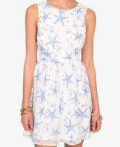 dress,light blue,white,starfish,studs,forever 21