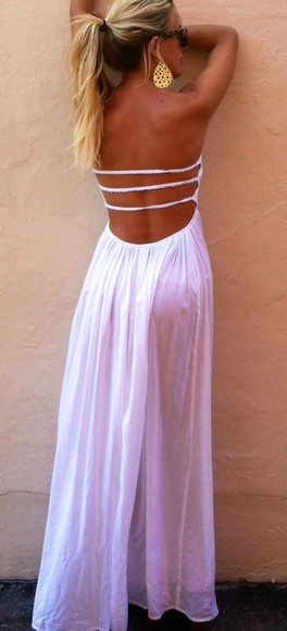 dress backless strappy summer dress white pink, dress,