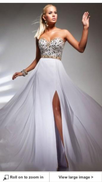 41defd343c1 dress prom gorgeous white long jewels aline sweetheart beautiful girl prom  dress