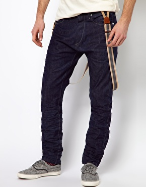 Jack & jones intelligence tapered jeans with braces at asos