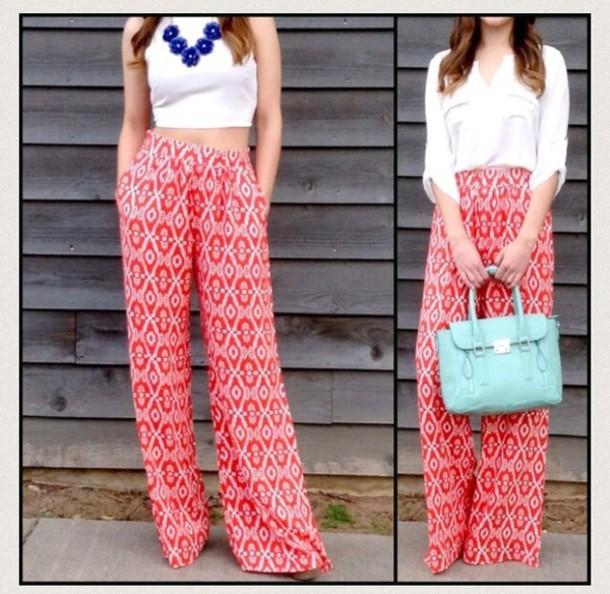 pants palazzo pants coral
