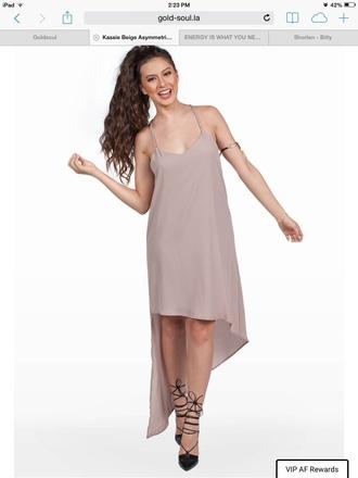 dress asymmetrical dress beige dress beige assymetrical dress