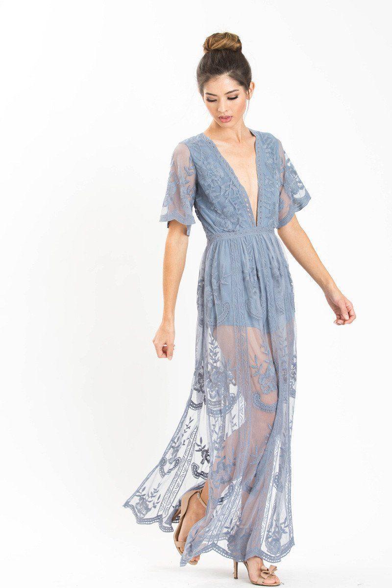 Mila Dusty Blue Lace Maxi Jumpsuit
