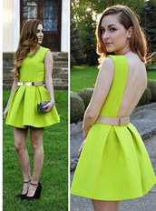 dress,cute,lovely,yellow,green,bqueen,fashion,hot,chic,bodycon,sexy,party,evening dress,event,neon,halter neck,hem,girl