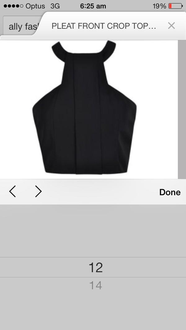 blouse black pleated crop top