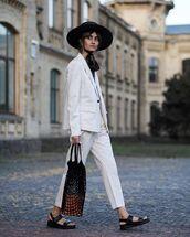shoes,flat sandals,suit,blazer,pants,stripes,hat
