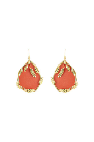 earrings gold yellow coral red jewels