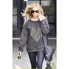 By Chance Melissa Heart Sweatshirt in Black as seen on Ashley Tisdale