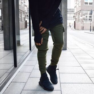 pants maniere de voir khaki rib jog trouser sweat joggers ribbed utility pockets
