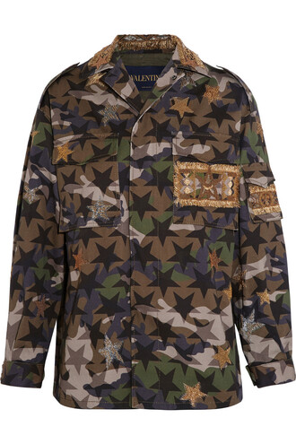 jacket camouflage embellished cotton print green army green