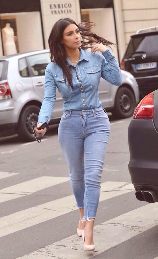 jeans denim shirt kim kardashian