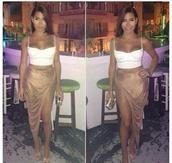 skirt,nude,biege,pencil skirt,long skirt,gold,mid length,tank top