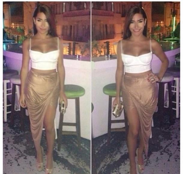 1f02948bbe5a9 skirt nude biege pencil skirt long skirt gold mid length tank top