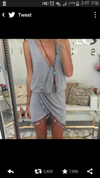dress grey dress tassles