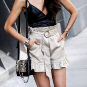 top,tumblr,black top,leather top,camisole,shorts,nude shorts,bag