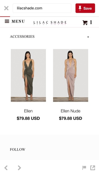 dress khaki maxi dress plunge v neck slit dress