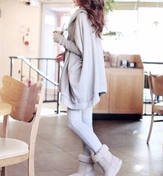 clothes fashion style winter sweater jacket hoodie oversized sweater grey cardigan fall outfits kawaii coat streetwear