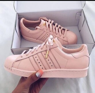 shoes addidas shoes gold  and rose adidas