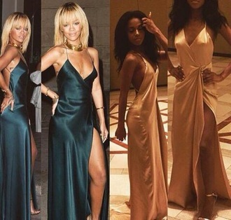 dress gold teal rihanna prom gown satin dress silk