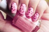 nail polish,rose,nails,decals,pink,girly