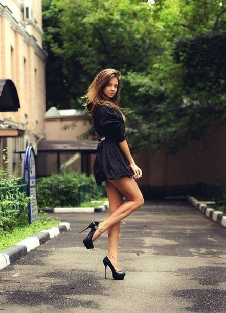 dress black dress short dress high heels black high heels fashion
