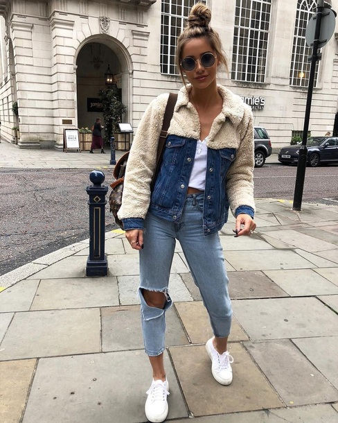 a9e7b8f2ede coat denim jacket jacket denim jeans ripped jeans fur outfit style  scrapbook instagram make-up