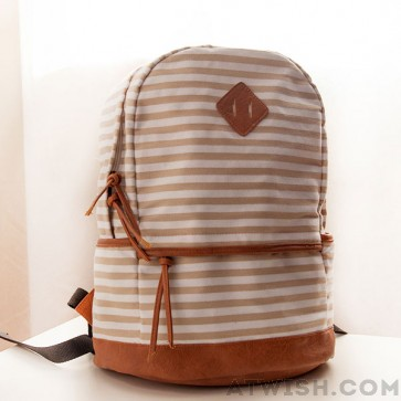 Casual striped canvas backpacks from crossbody bags