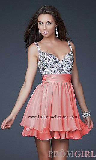 La Femme Beaded Party Dress, Junior Prom Beaded Dresses- PromGirl