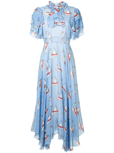 dress print dress women print blue silk
