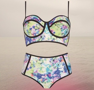 swimwear bikini patterened colours high waisted bikini