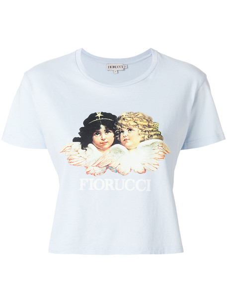 FIORUCCI t-shirt shirt t-shirt women cotton print blue top